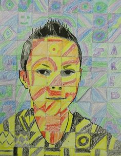 Chuck Close inspired self portrait by my student Jared, grade 5 (Donna Staten)