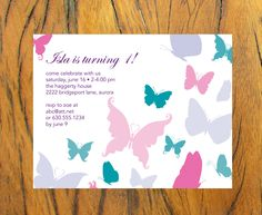 Custom Butterfly Birthday Invitations on Recycled Paper.