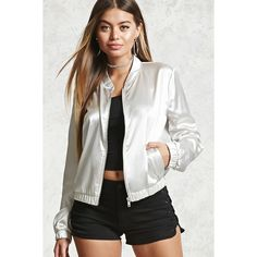 Forever21 Satin Bomber Jacket ($10) ❤ liked on Polyvore featuring outerwear, jackets, grey, blouson jacket, bomber jacket, grey jacket, satin jacket and gray jacket