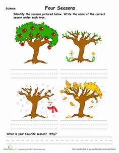 Kindergarten Weather & Seasons Worksheets: Learn the Four Seasons Seasons Kindergarten, Kindergarten Projects, Kindergarten Science, School Projects, Preschool, School Age Activities, Book Activities, Activity Books, Seasons Lessons
