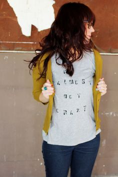 Bright cardigan + cozy tee = laid back beauty. Great way to don my band tees.