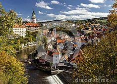 Cesky Krumlov. Castle, Tower,   cityscape  Czech republic. Sunny autumn day.