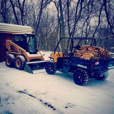 Snow plowed.❄️ Time to get a fire rolling. ♨️#fire #firewood #caterpillar #caterpillartractor