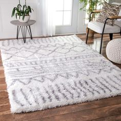 We love this aesthetic. White/gray, simple/light designs. For living room and office.   (nuLOOM Soft and Plush Cloudy Shag Moroccan Geometric Grey Rug (5' x 8'))