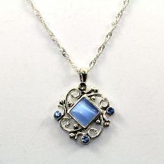 Vintage Blue Chrysoberyl CZ Scroll Pendant Necklace 925 Sterling Silver NC 514 by GabrielStar on Etsy