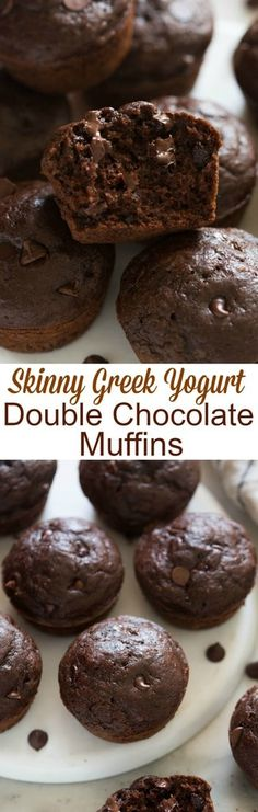 Doublechocolate chip muffins you don't have to feel guilty for indulging on! Made with whole grains and greek yogurt to make them extra moist. | tastesbetterfromscratch.com
