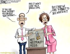 Net neutrality regulations will do for the internet what Obama has done to healthcare. Fears that once the government is involved it won't be so free. Cartoon by A.F.Branco ©2015