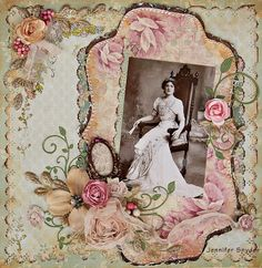 Beautiful Vintage Floral Page...Scraps of Elegance - Scrapbook.com.What an amazing photo and LO