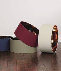 Hue Pendant Lampshades. In red, sage, navy, grey and white. £29. MADE.COM