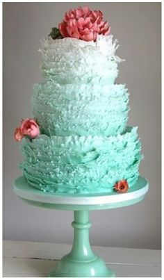 Cake  Love the ombré and the jade glass stand.