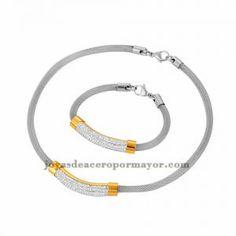 collar y pulsera de estilo simple con cristal dorado acero plateado inoxidable…