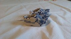 Miniature Delft Blue and Cream Dutch Ceramic Shoes by TheWhimsicalDust on Etsy