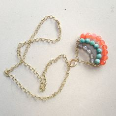 Coral Agate Necklace   14K Gold Filled Link by jewelrybycarmal, $62.00