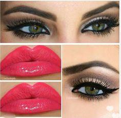 Neutral smokey eye and bright pink lips.