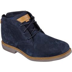 Skechers Men's Holford Navy - Skechers ($100) ❤ liked on Polyvore featuring men's fashion, men's shoes, navy, navy blue mens shoes, mens shoes, mens chukka boots, mens navy shoes and skechers mens shoes
