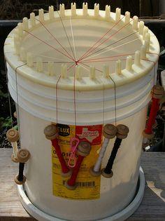 kumihimo loom made from a 5 gallon bucket
