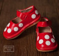 Southern Tots - Red with White Dot Squeaky Shoes, $18.00 (http://www.southerntots.com/red-with-white-dot-squeaky-shoes/)