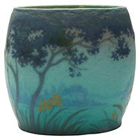 "Almeric Walter (1870-1959), Landscape pillow vase, Nancy, France, decorated ceramic, signed, unusual, 5.5""dia x 5""h"