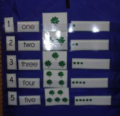Here's a set of St. Patrick's day themed counting cards for a pocket chart.