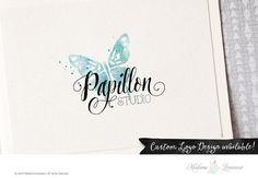 premade logo design watercolor logo butterfly by MadameLevasseur