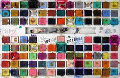 A vintage watercolor tin of 100 colours.
