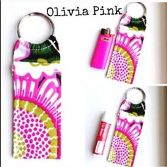 """Made in Vera Bradley Print Chapstick Keychain NWOT Made in new Vera Bradley Print Chapstick Keychain Olivia Pink Chapstick Keychain~Fits Mini Bic Lighters~and Flash Drives Size 4"""" x 1  1/2"""" Smoke Free Home Chapstick/Lighter NOT Included ✨Pattern placement varies✨ All Keychains are made with high quality material from a smoke free home 100% Vera Bradley Fabric Interface Metal Keyring Made in Vera Bradley Accessories Key & Card Holders"""