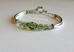 Bridesmaid Wedding Bracelet - Peridot Swarovski Crystal Bangle Bracelet