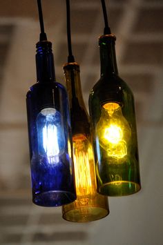 recycled wine bottle lights #winebottle #repurpose #recycle