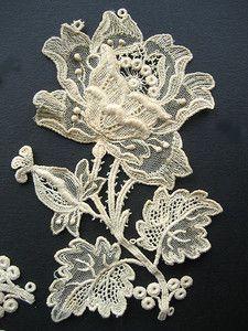 Set of 8 Large Antique Point de Gaze Lace Rose Appliques | eBay