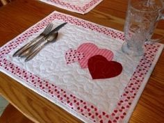 Seasonal Placemats on Etsy, $5.00 PDF Pattern! Perfect for Valentine's Day!