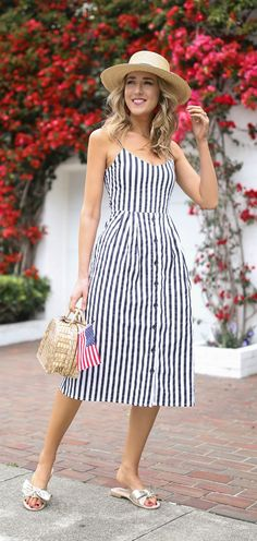 c97cc237ff Summer Style    Navy and white striped spaghetti strap sun dress with bow  tie back