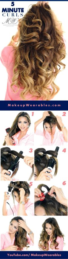 How to curl your hair in 5 minutes - Lazy Hairstyles Lazy Hairstyles, Romantic Hairstyles, Bride Hairstyles, Hair To Go, How To Curl Your Hair, 5 Minute Curls, Curling, Romantic Curls, Great Hair