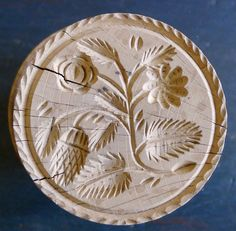 Antique Wooden Butter Mold with Very Intricate and Detailed Flower and Thistle Pattern by CedarFarmsAntiques on Etsy https://www.etsy.com/listing/193737919/antique-wooden-butter-mold-with-very