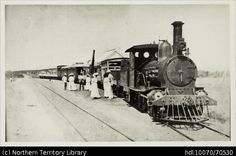 Passengers next to the engine at the Railway Station,Brock's Creek. Darwin and Pine Creek Railway in State Library of South Australia. The Old Days, South Australia, Commonwealth, Darwin, Engineering, Old Things, Landscape, Pine, History
