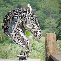 Horse metal sculpture recycled scrap metal art