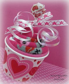 Becky's Baby Cakes & Unique Gifts: Valentine's Sock Cupcake Etsy listing at https://www.etsy.com/listing/220692748/sock-cupcakes-valentines-day-gift