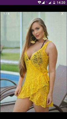 Pin by Thalita Almeida on a in 2019 Sexy Dresses, Cute Dresses, Fashion Dresses, Crochet Lingerie, Crochet Clothes, Bikini Girls, Evening Gowns, Sexy Women, Swimsuits
