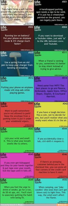 Life hacks. The camping candle one is really quite brilliant.