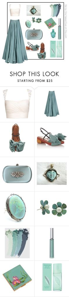 """Beach wedding early evening"" by onenakedewe ❤ liked on Polyvore featuring Marni, Badgley Mischka, Child Of Wild, Gucci, Giorgio Armani, Elizabeth Arden and summerwedding"