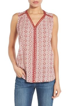 Pleione Embroidered Trim V-Neck Sleeveless Blouse available at #Nordstrom