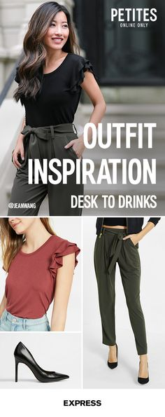 Go from the boardroom to the bar with one versatile outfit from Express. Make your office look happy-hour-appropriate with a few quick tips. Start with an effortlessly chic pair of petite sash waist pants. When 5pm rolls round, switch the sensible heels for some sky-high mules with fun details. Add a quick final swipe of red lipstick and youÕre ready for anything. Shop the collection at Express.com.