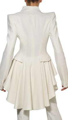 best peplum jackets ever. edgy, well made, flattering. Alexander McQueen White Ruffled Leaf Viscose Crepe Coat