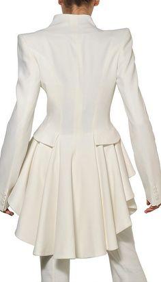 Alexander McQueen White Ruffled Leaf Viscose Crepe Coat