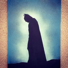 Batman painting 30cm x 40cm canvas, handmade by me. I cut the image into a stencil and use spray paint direct onto a canvas using a variety of