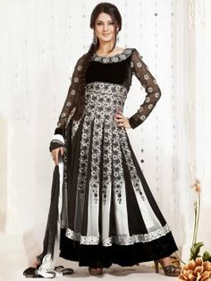 Black And White Georgette Anarkali Suit With Resham And Zari Embroidery Work www.saree.com