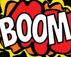 I created this picture on my computer, It represents onomatopoeia as it's a picture of an explosion which is considered to make the sound boom. So that's why the word Boom is infront