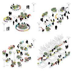+ atelier starzak strebicki + laura muyldermans turn brussels' esplanade into a public, social space Architecture Concept Diagram, Architecture Presentation Board, Architecture Collage, Landscape Architecture Design, Architecture Graphics, Urban Architecture, Architecture Drawings, Urban Design Concept, Urban Design Diagram