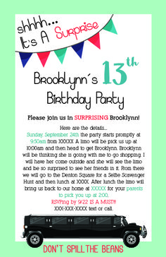 16 best hannahs birthday images on pinterest birthday invitations birthday invitation to a surprise birthday party for my daughter i had hired a limo stopboris Image collections