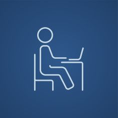 Student sitting on chair in front of laptop line icon vector art illustration