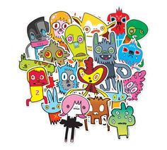 Jon Burgerman has been involved with campaigns for brands such as Coke, Pepsi and Nike. Character Illustration, Illustration Art, Doodle Designs, Gcse Art, Recycled Art, Illustrations, Cool Patterns, Urban Art, Doodle Art